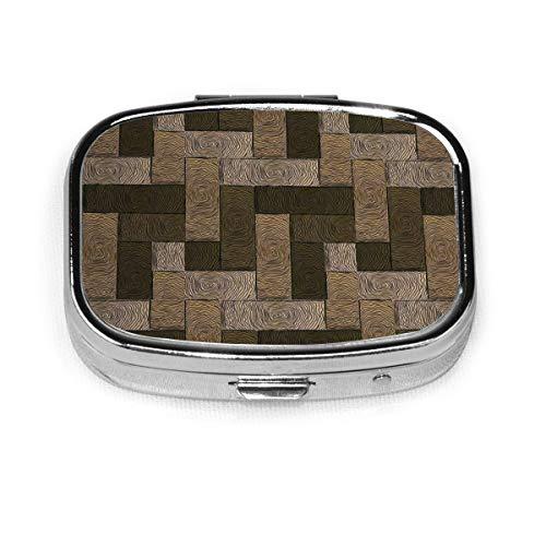 Parkett Muster In Holzstil Geometrisches Design Benutzerdefinierte Mode Platz Pillendose Tablet Halter Tasche Geldbörse Organizer Fall Dekoration Box