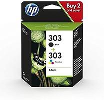 HP 303 Pack de 2 Cartouches d'Encre, Noire et Trois Couleurs, Authentiques (3YM92AE)