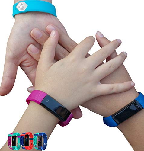 Kids Fitness Tracker for Kids Activity Tracker – Smart Watch for Boys Girls Teens Youth Digital Step Counter Sleep Exercise Pedometer Alarm Reminders Notifications 2 Bands TRENDY PRO DELUXE BLUE BLACK