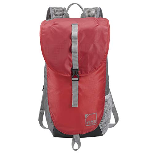 Lewis N Clark Unisex Adult Lightweight Day Pack Casual Daypack RedGray One size