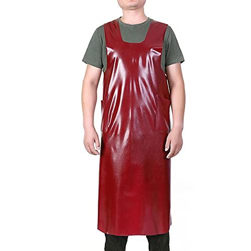 Delantal de cuero suave, tipo chaleco, delantal de goma de cuero impermeable y resistente al aceite utilizado para productos acuáticos, jardinería piedra, overoles de lavado de autos-rojo_120x95 cm
