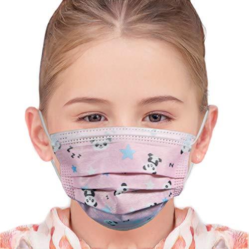 Hengd 50 Stück Einweg- Gesichtsmasken Mund Nasen Schutzmaske Einmal-Mundschutz 3-lagig (Panda - Kinder)
