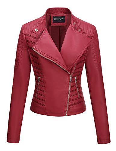 Bellivera Damen PU Lederjacke (3 Farben), Bikerjacke mit Reißverschluss, Kurze Jacke für Herbst, Frühling, S