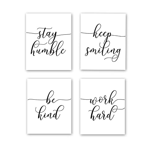 """HPNIUB Unframed Inspirational Quote Art Painting,Work Hard,Be Kind,Stay Humble,Keep Smiling Art Print Set of 4 (8""""X10"""" Motivational Phrases Wall Art for Office or Living Room Home Wall Decor"""