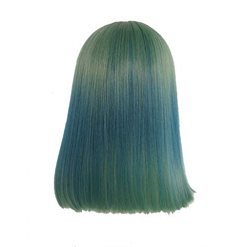 YANFEI Perruque Femme Air Bangs Cheveux Raides Court De La Mode Vert Gradient Bleu Visage Rond Bleu Cheveux Raides Longs Cheveux Naturels Clavicule Cheveux (Taille : 50)