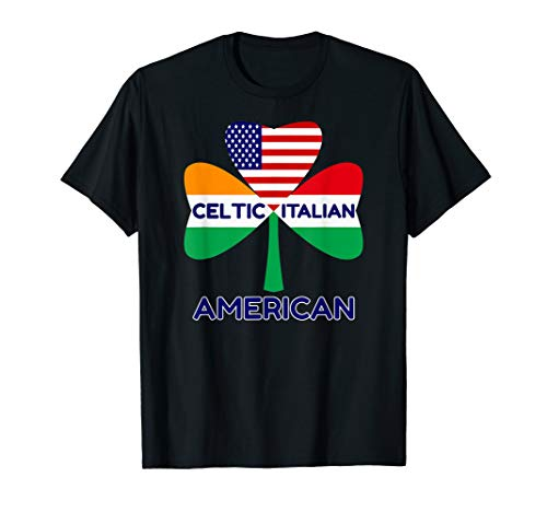 Irish Italian American Flag And Celtic Shamrock Pride Gifts T-Shirt