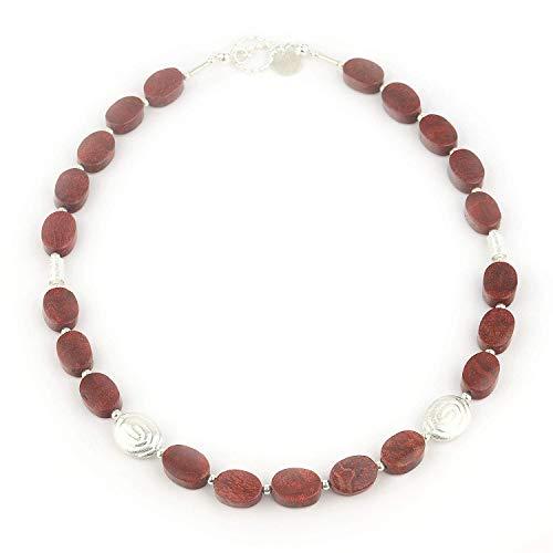 Halskette aus roter Koralle und 925er Silber 47cm Länge