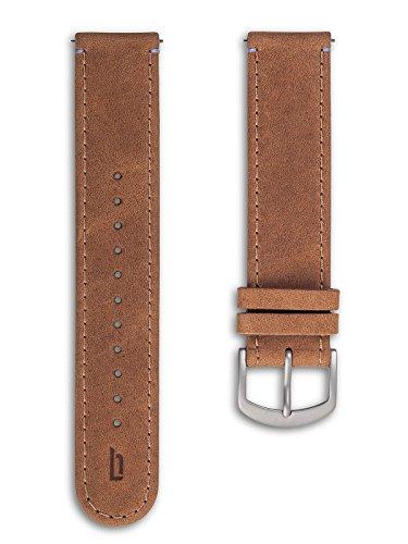 Lilienthal Berlin - Made in Germany – Wechselarmband, vegetabil gegerbtes Leder L1 (Farbe: Hellbraun/Schließe: Silber)