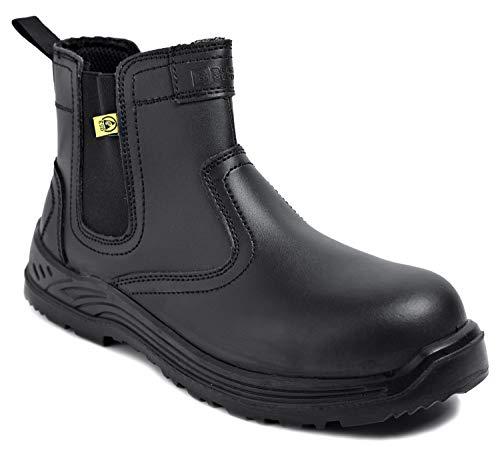 Black Hammer Herren Sicherheitsstiefel Chelsea Arbeitsschuhe Leder Stahl Zehenkappe Arbeitsknöchel Leichtes Schuhwerk ESD S3 SRC 8872 (44 EU)