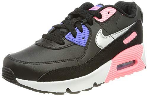 Nike Air Max 90, Scarpe da Corsa, Black/Sunset Pulse/Sapphire/Metallic Silver, 33 EU