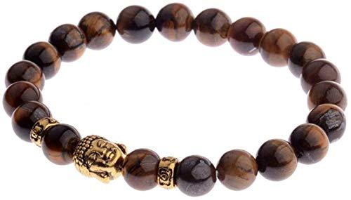FLYAND Pulsera de Piedra Mujer, 7 Chakra Piedra Natural Beads Tiger Eye Stone Bangle Elástico Buddha Joyería Orga Energía Energía Balance Reiki Unlimited Charm Regalo para Pareja