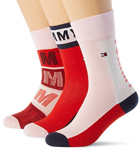 Tommy Hilfiger Th Kids Sock 3p Tommy Giftbox calze, rosso rosso, 31-34 (Pacco da 3) Bambino
