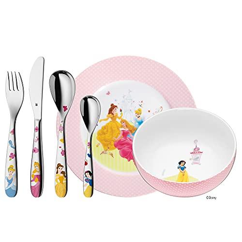 WMF Disney Princess Kinder Geschirrset 6-teilig, Kindergeschirr mit Kinderbesteck Edelstahl, ab 3 Jahre, Cromargan poliert, spülmaschinengeeignet
