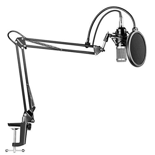 Neewer NW-800 Plata Profesional Micrófono de Condensador de Grabación & NW-35 Soporte de Brazo de Tijera de Suspensión Ajustable de Micrófono de Grabación con Kit de Montaje de Choque y Abrazadera