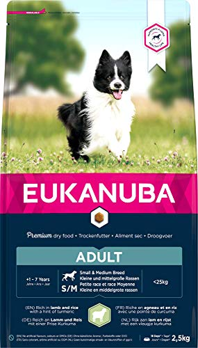 Eukanuba, Cibo Secco per Cani Adulti, Alimento Completo per Taglia Piccola e Media, 1-7 Anni, Crocchette Cani con Agnello e Riso, 2.5 kg