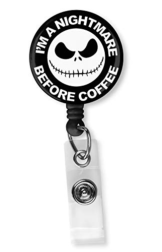 I'm A Nightmare Before Coffee Retractable ID Card Badge Holder with Alligator Clip, Name Nurse Decorative Badge Reel Clip on Card Holders