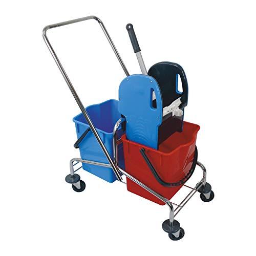 Sito Doppelfahrwagen chorm mit Deichsel 2x 18 l EimerPresse für Wischmop Putzwagen Rollwagen Eimerwagen Reinigungswagen Pressenwagen Putz-Set Nasswischwagen klein