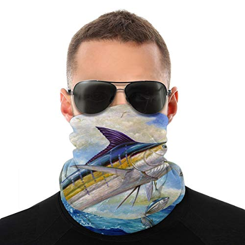 Variety Head Scarf Bandana Face Cover The Blue Marlin Leaping To Eat Dustproof Windproof Variety Head Scarf Balaclava For Women Men