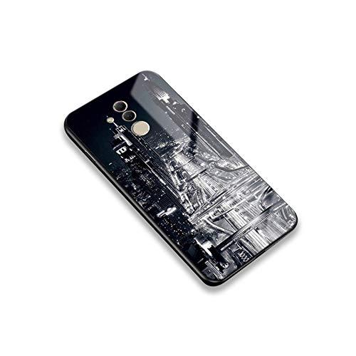 [Leuchtend Luminous] Kompatibel mit Huawei Mate 20 Lite/Maimang 7 Hülle, Ysimee Bunte Gemalt Handyhülle 9H glattes Glas Rückseite & TPU Bumper Kratzfeste Stoßfeste Schutzhülle, Stadt Lichter