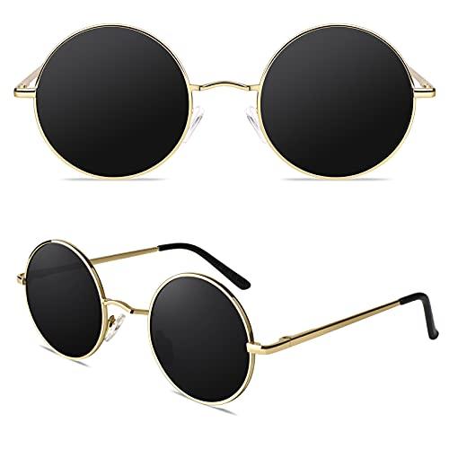 CGID Occhiali da Sole Polarizzati Uomo Donna Classici Retro Stile Lennon Rotondi Circolari Tondi Protezione UV