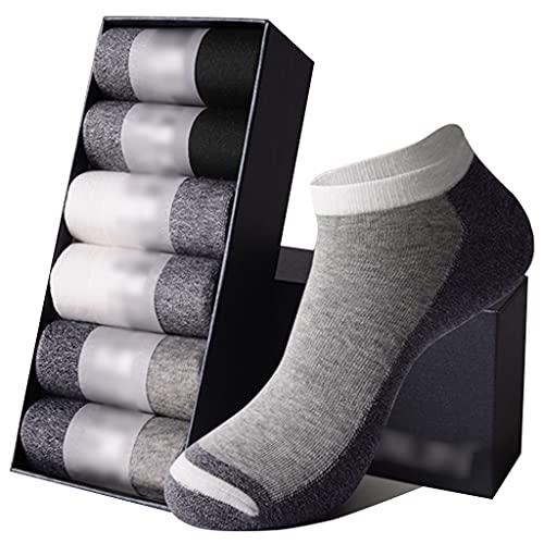 LJMG Calcetines de Deporte Pack De 6 Calcetines De Hombre En Color Contrastante, Calcetines De Algodón Que Absorben La Humedad, Calcetines Suaves, Ligeros, Transpirables Y Poco Profundos