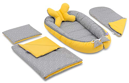 JUKKI - Conjunto de 5 piezas para bebé (nido de 50 x 90 cm, cojín de lactancia, manta, manta para bebé, almohada, nido para bebés, 100% algodón, cuna de viaje y colchón