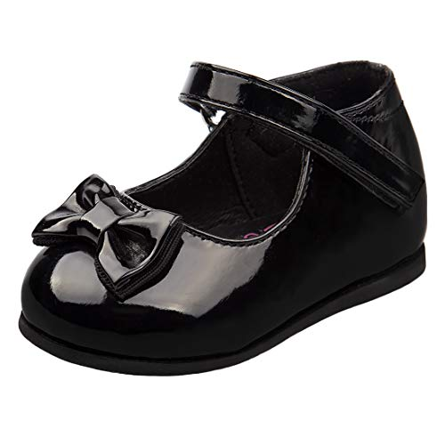 Josmo Baby Girls Patent Dressy Shoe Bow (Infant, Toddler), Size 4 Toddler, Black Bow
