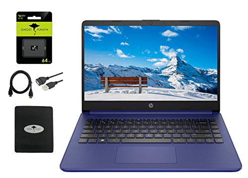 """2021 HP 14"""" HD Laptop Thin and Light, Intel Celeron N4020 (Up tp 2.8GHz), 4GB RAM, 64GB eMMC, 1 Year Office 365, Webcam, HDMI, WiFi, Google Classroom or Zoom Compatible, w/64GB SD Card, Accessories"""