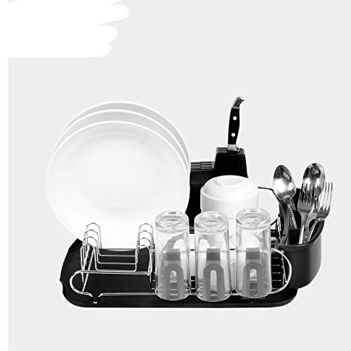 WOSHUAI Stainless Steel Dish Rack, Multifunctional Single-Layer Dish Cup Drain Rack, Kitchen Storage Rack with Cutlery Rack, Cup Rack, Drain Tray