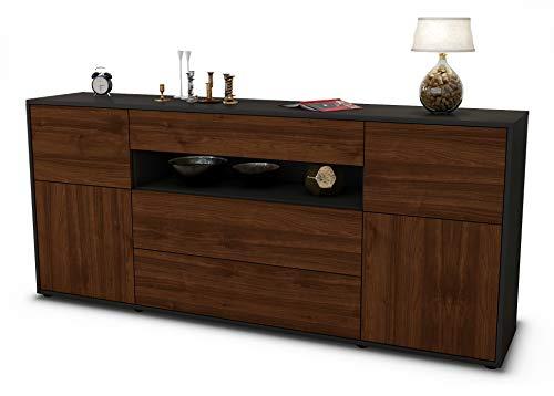 Stil.Zeit Sideboard Emma/Korpus anthrazit matt/Front Holz-Design Walnuss (180x79x35cm) Push-to-Open Technik & Leichtlaufschienen
