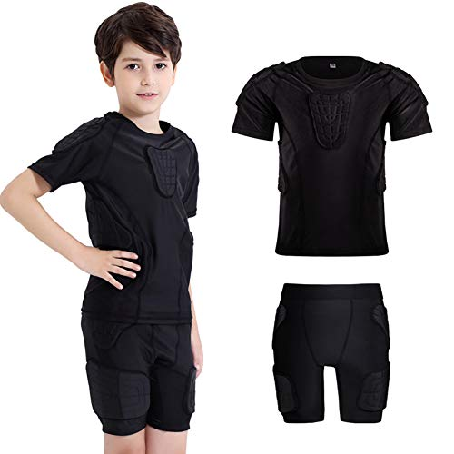 TZTZD Kinder Anti-Kollisions-Sportanzug Kurzarm Protektoren Shirt Sports Gepolsterte Kompression für Fußball Basketball Paintball,YL(9~10yearsold)