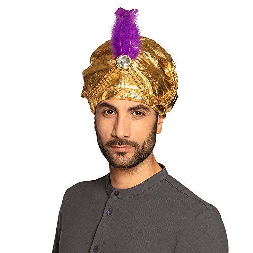Boland 81015 – Turbante con perlas, dorado, árabe, príncipe árabe, adivinador, oriental, accesorio para fiesta temática o carnaval