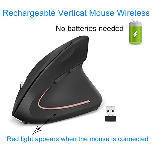 EasyULT Mouse Verticale Wireless Ricaricabile, Ergonomico Ottico Mouse Senza Fili 2.4G con Nano Ricevitore, 800/1200/1600 DPI Regolabile Mouse USB, 6 Pulsanti, per PC/Laptop/Desktop/MacBook(Nero)