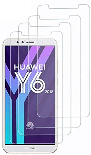 Set mit 4 Stück, kompatibel mit Huawei Y6 (2018), Honor 7A (5.7) ATU-L11 ATU-L21 ATU-L22 ATU-LX3 Displayschutzfolie aus gehärtetem Glas, kratzfest, 9H Touchscreen