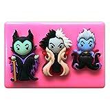 Molde de silicona maléfica de Disney Villains Cruella de Vil, Ursula, para decoración de tartas y magdalenas