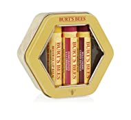 Burt's Bees Trio Tin 100% Natural Lip Balm with 3 Moisturising Flavours, Beeswax, Pomegranate and Wi...