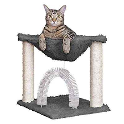 Furhaven Pet Cat Furniture - Tiger Tough Plush Cat Tree Hammock Self-Grooming Entertainment Playground, Silver, One Size