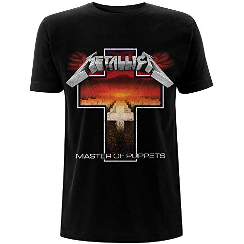 Metallica Herren Master of Puppets Cross_Men_bl_ts: L T-Shirt, Schwarz (Black Black), Large