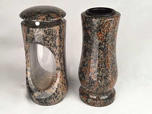 designgrab Design Small Lampe tombale avec vase en granit gneis Halmstad/barap/Hollandia, pierre tombale Set