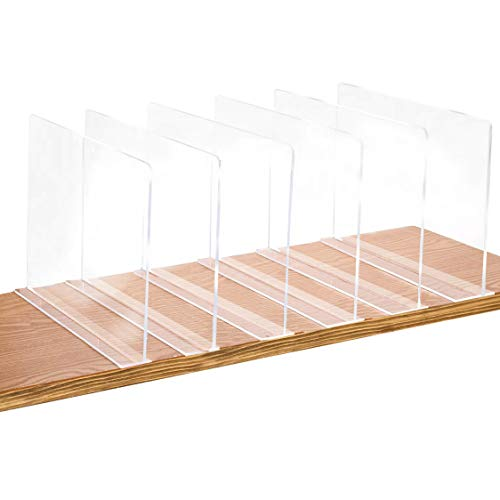 Bee Neat Clear Acrylic 11' Shelf Dividers for Closets, Clothes, Handbags, Purses, Books, Sweaters - Nano Tape Separators to Organize Wooden Shelves - Pack of 6
