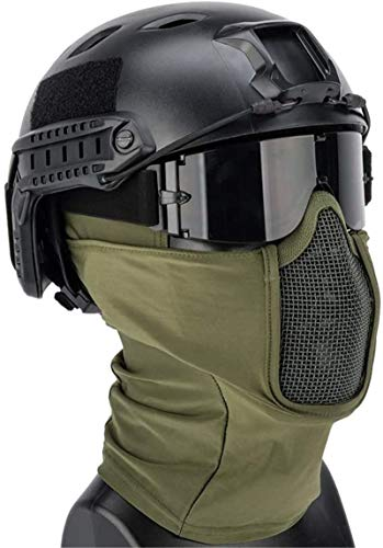 Feeyond Airsoft Tactical Quick Helmet and Full Face Protection Net Cover and Glasses Tactical Set, Collapsible Hunting Shooting Paintball Battle War Game,Od