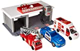 WolVol Emergency 3-Vehicle Garage Toy w/ Pretend Radio & Sounds - Portable Utility Vehicle Station - Ideal Gift for Boys & Girls