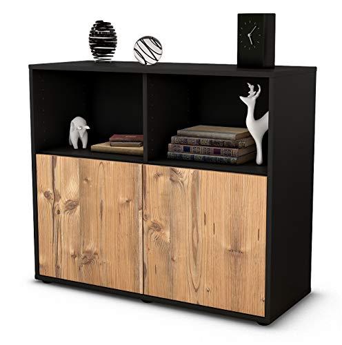 Stil.Zeit Sideboard Camilla/Korpus anthrazit matt/Front Holz-Design Pinie (92x79x35cm) Push-to-Open Technik