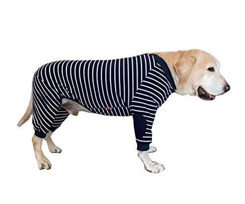 BT Bear Hundekleidung, schützt Gelenke, Anti-Haare, vierbeinig, elastisch, klassisch, gestreift, mit Reißverschluss, für mittelgroße Hunde, große Hunde, große Hunde, Labrador, Golden Retriever Samoyed