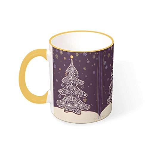 O2ECH-8 11 oz Christmas Flower drank muesli mokken met handvat glad keramiek retro mokken - klascamera, kantoor gebruiken