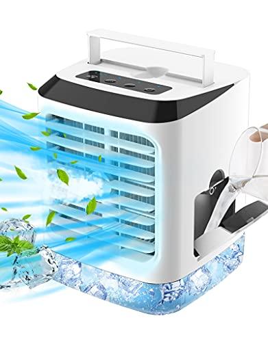 Enfriador de Aire móviles Mini Aires Acondicionados Silencioso, Climatizador Evaporativo Portátil 4 en 1 con Refrigeración por Agua, Humidificador, 3 Velocidades de Viento y 7 Colore LED Luz