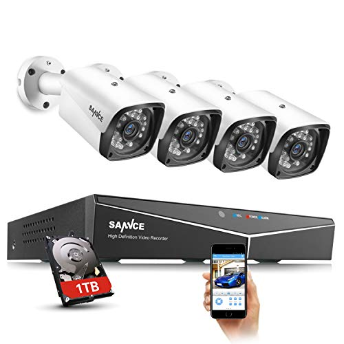 SANNCE Kit Sistema de Seguridad XPOE 1080P 4CH NVR y 4 IP Cámaras de vigilancia 2MP IP66 Impermeable Interior/Exterior IR Leds Visión Nocturna 100pies/30m detección de movimiento-1TB Disco Duro