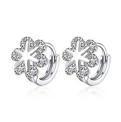 boowhol Mujer Pendientes hipoalergénico Pendientes de aro Zircon Snowflake estrellas diamante 925plata de ley pendientes