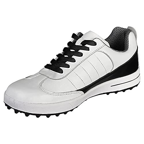 Zapatos De Golf para Hombres, Zapatos De Entrenamiento De Golf Sin Clavos, Zapatillas De Golf Profesionales A Prueba De Agua Al Aire Libre Antideslizantes para Caminar,Blanco,40 EU