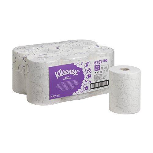 Kleenex Ultra Slimroll Papierhandtücher in Rollen 6781 – 2-lagige Papierhandtücher Rollen – 6x100m weiße Papierhandtücher in Rollen
